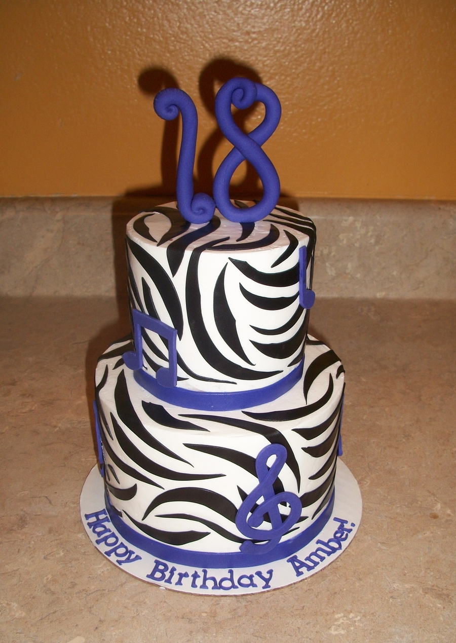 Zebra Music Print Cake on Cake Central