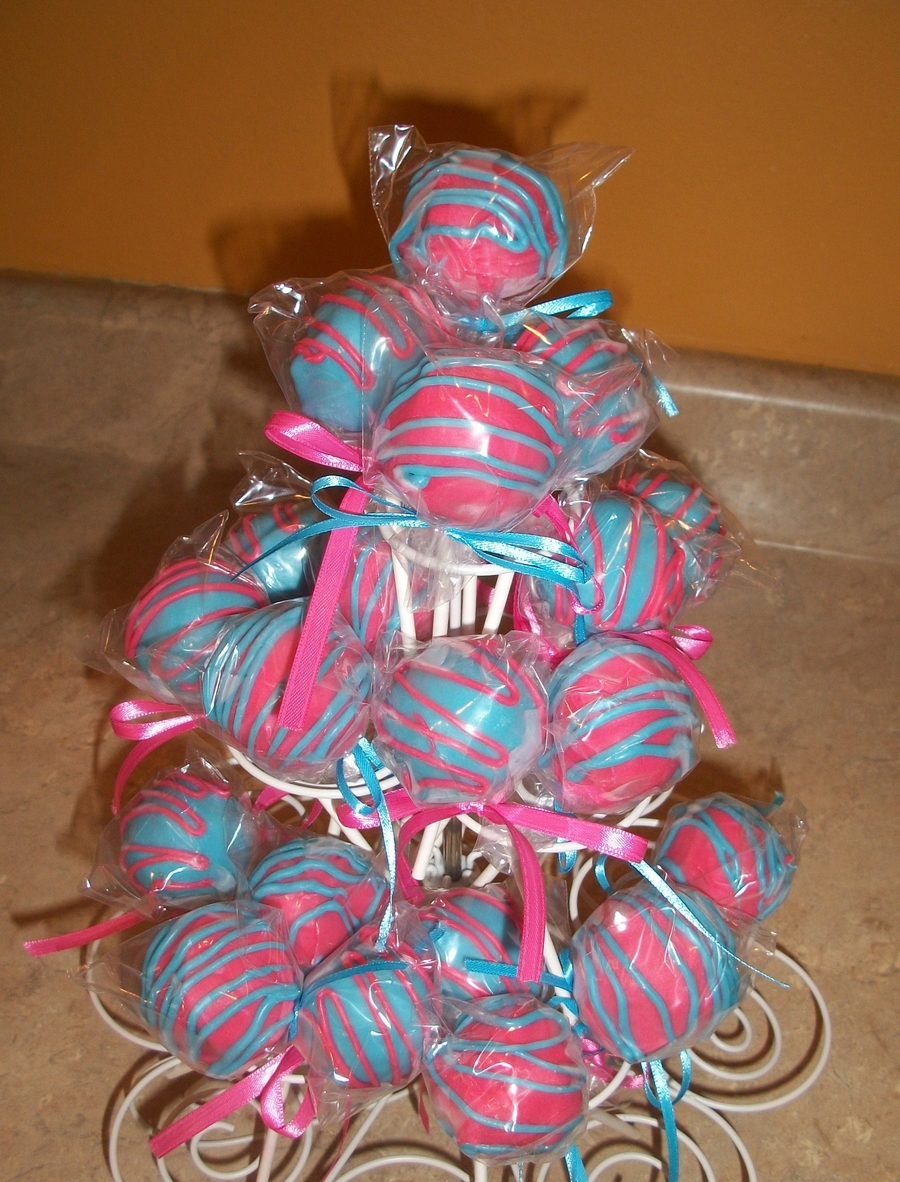 Pink And Blue Cakepops  on Cake Central