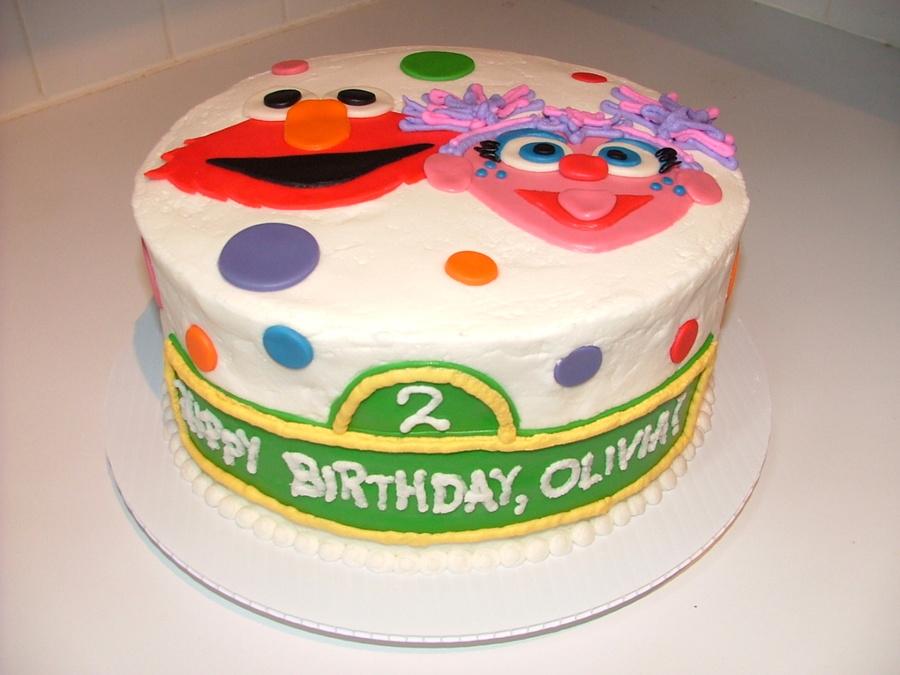 Elmo Amp Abby Birthday Cake Cakecentral Com