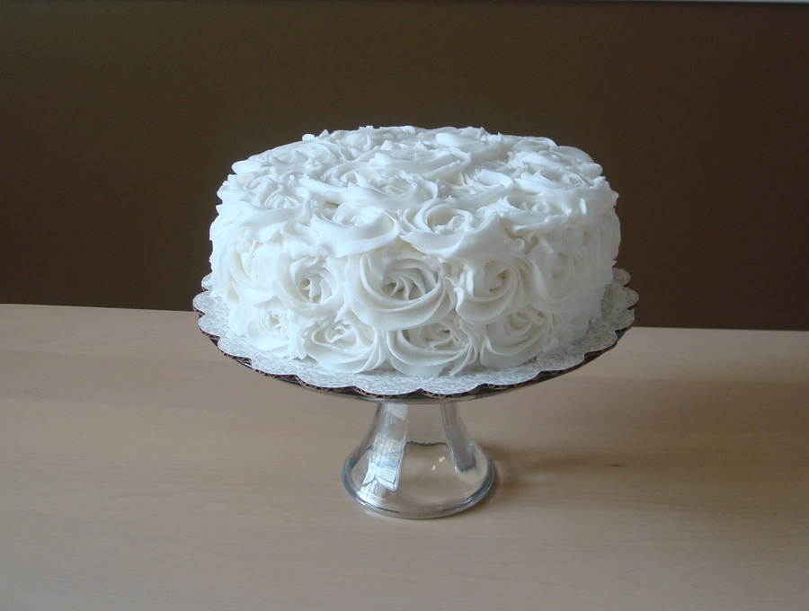 Small White Rose Cake on Cake Central