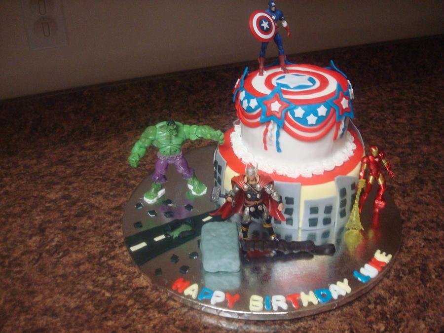Sensational Marvel Heroes Birthday Cake Cakecentral Com Funny Birthday Cards Online Elaedamsfinfo