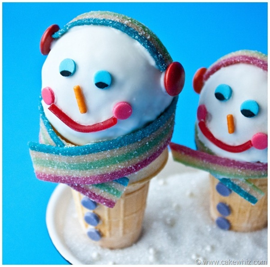 Snowman Cakeball Cones on Cake Central