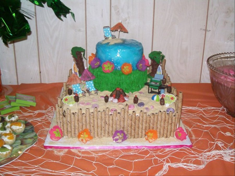 Fantastic Hawaiian Luau Birthday Cake Cakecentral Com Personalised Birthday Cards Cominlily Jamesorg