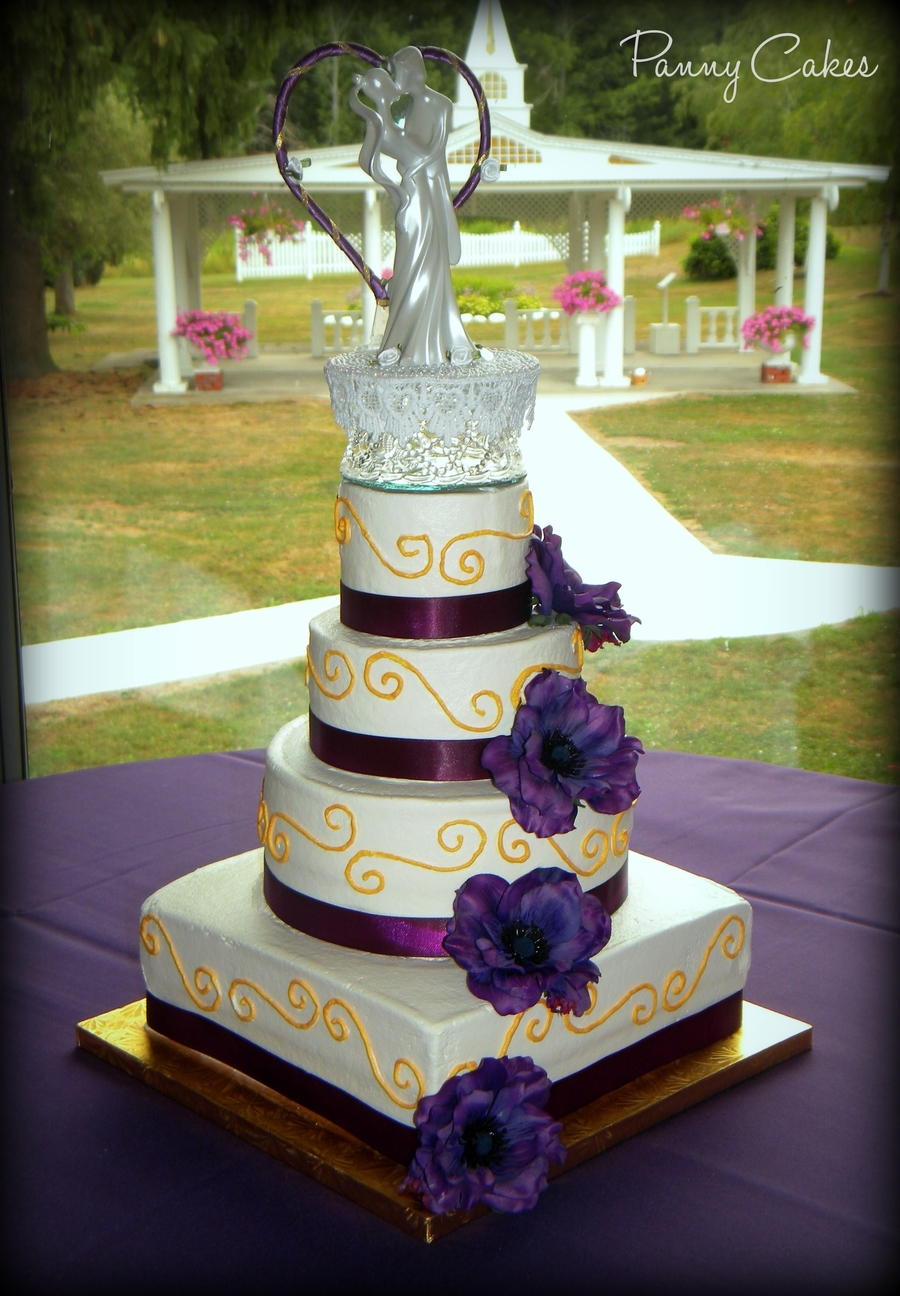 Purple & Gold Wedding Cake - CakeCentral.com