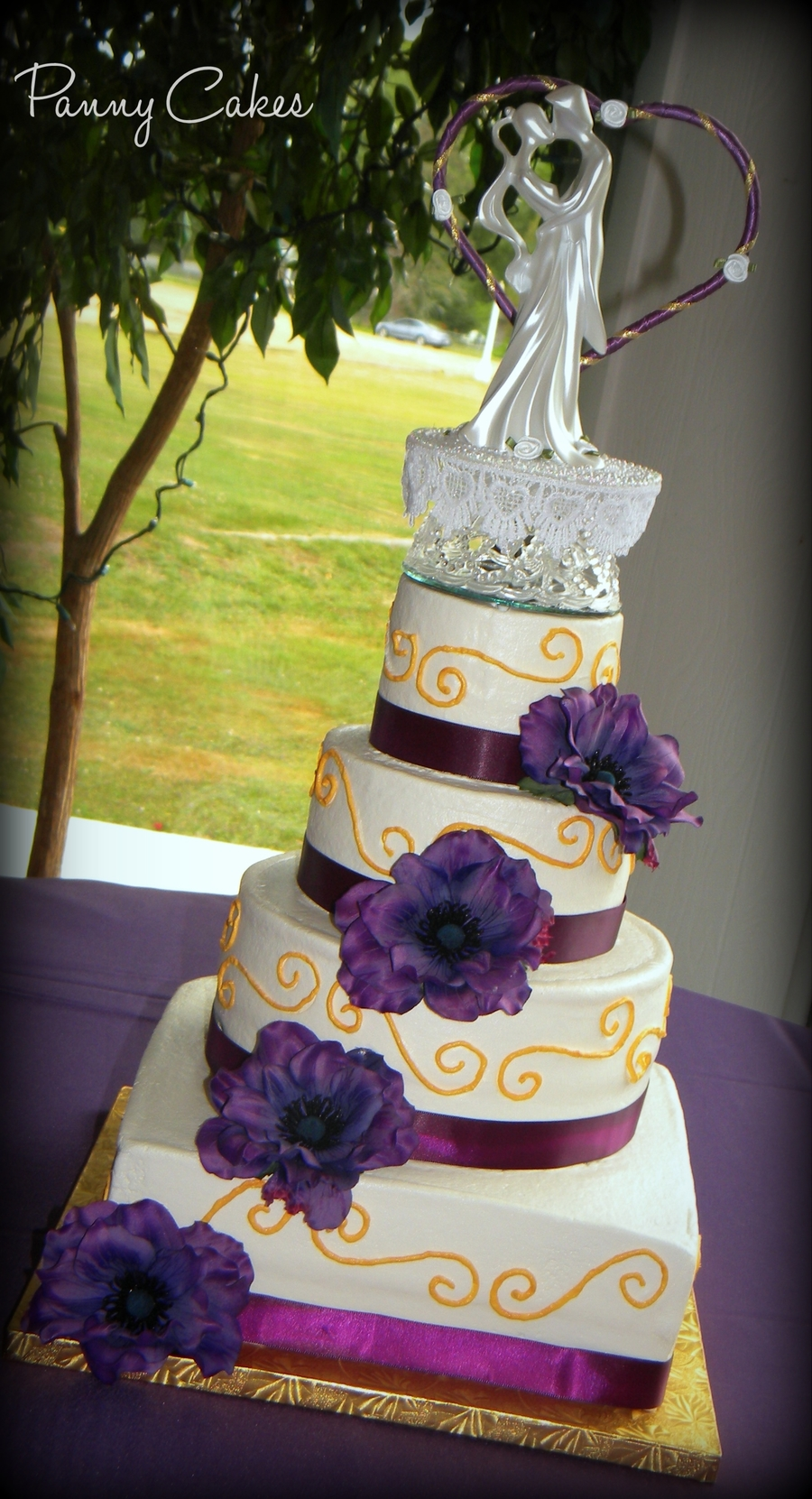 royal purple and gold wedding cake purple amp gold wedding cake cakecentral 19409