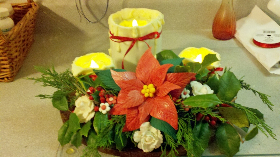 Christmas Candle Cake With Gumpaste Flowers I Used Real Greenery From My Yard And Battery Tea Lights But The Flowers Are Hand Made The  on Cake Central