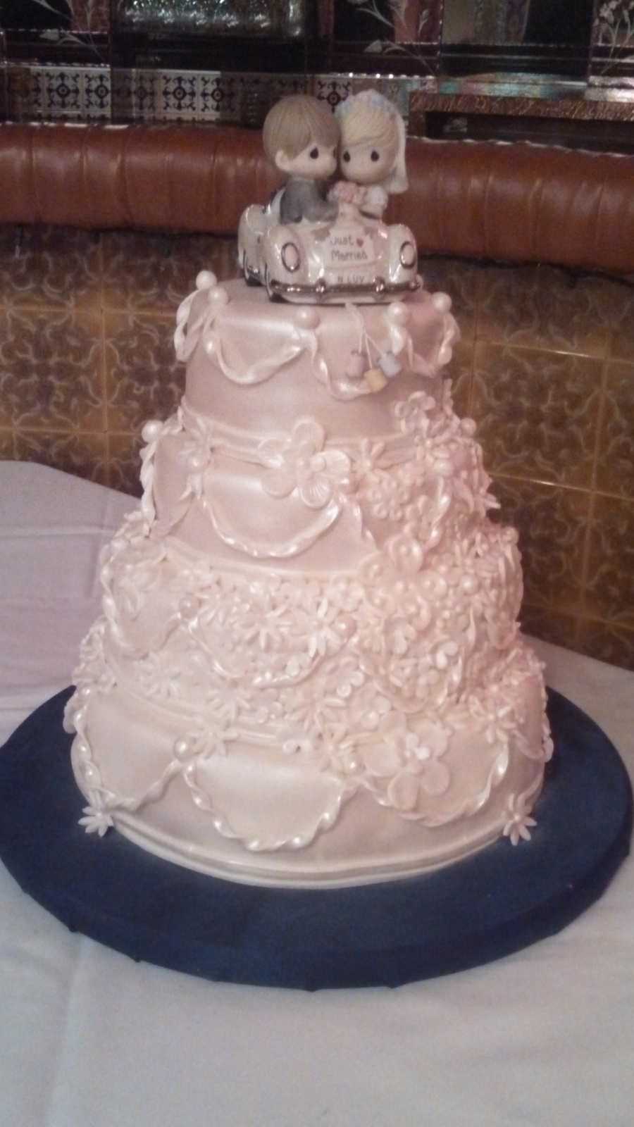 4 Tier Pearl White Wedding Cake With Precious Moments Toopper on Cake Central
