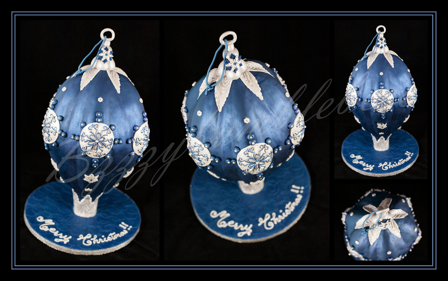 Midnight Blue & Silver Christmas Bauble on Cake Central
