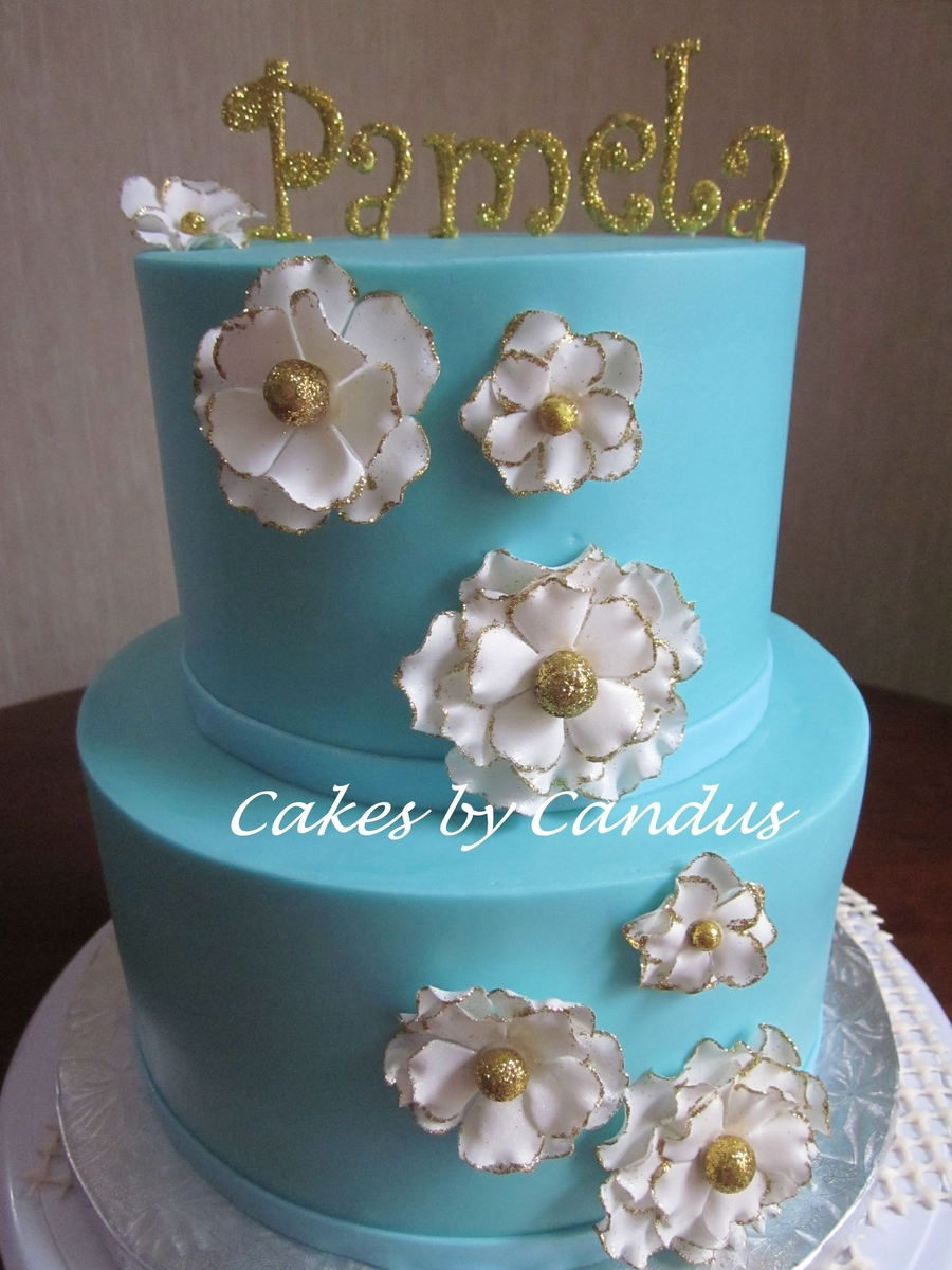 Teal And Gold on Cake Central