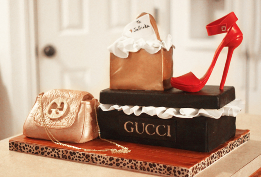 Gucci Cake All Edible Minus The Handles Purse Chain And Shoebox Lid on Cake Central