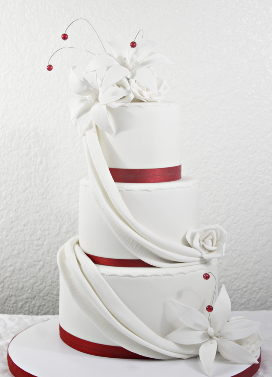 Red & White Wedding Cake W/ Drapes And Lilies on Cake Central