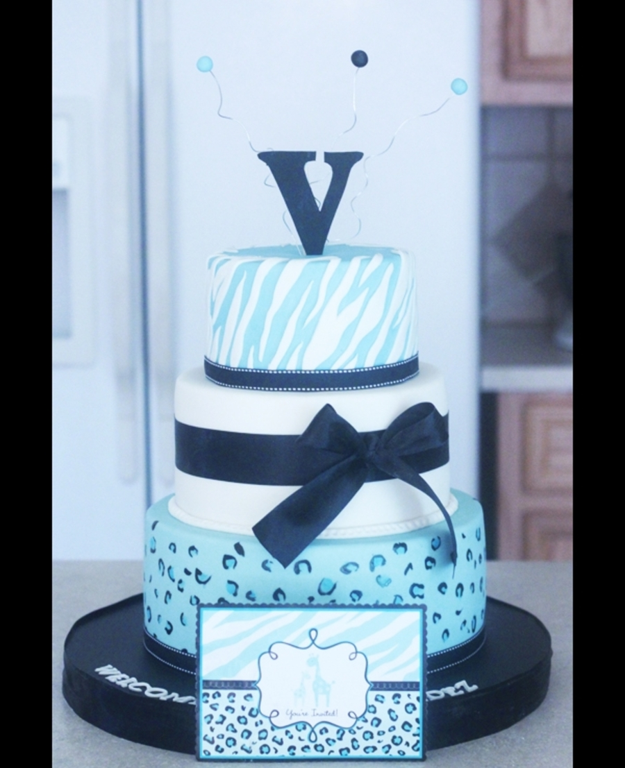 Blue Zebra And Leopard Print  on Cake Central