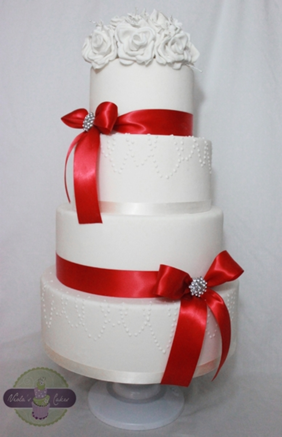 Red And White Wedding Cake W/ Roses  on Cake Central