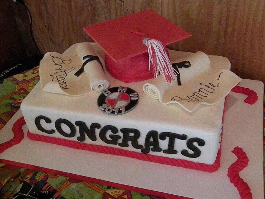 Double Graduation Cake Cakecentralcom