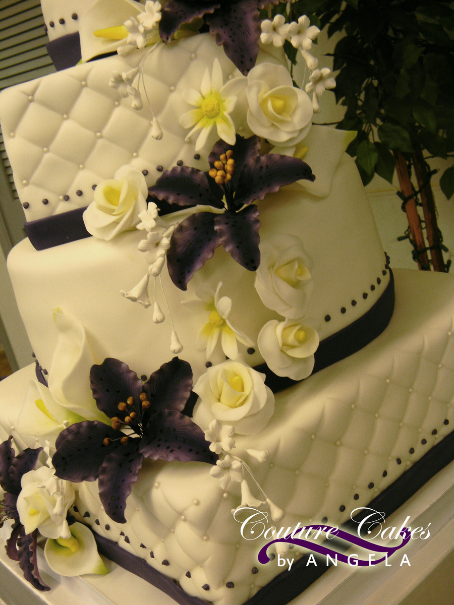 Purple Tiger Lily Quilted Wedding Cake - CakeCentral.com