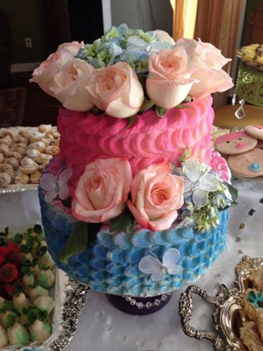 Floral Pink And Blue Baby Shower Cake Cakecentral