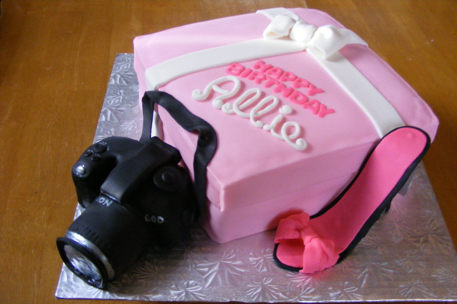 This Was Made For A Photographers 19Th Birthday She Is A Girlie Girl Who Loves Shoes Her Camera And All Things Pink  on Cake Central