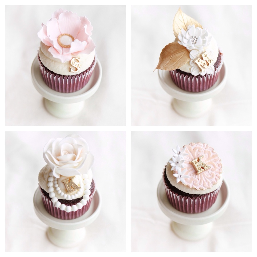 Romantic Pink And Gold Bridal Shower Cupcakes CakeCentralcom