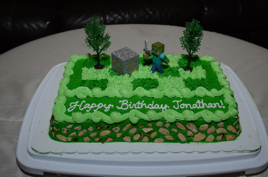 Minecraft Zombie Birthday Cake For Jonathan