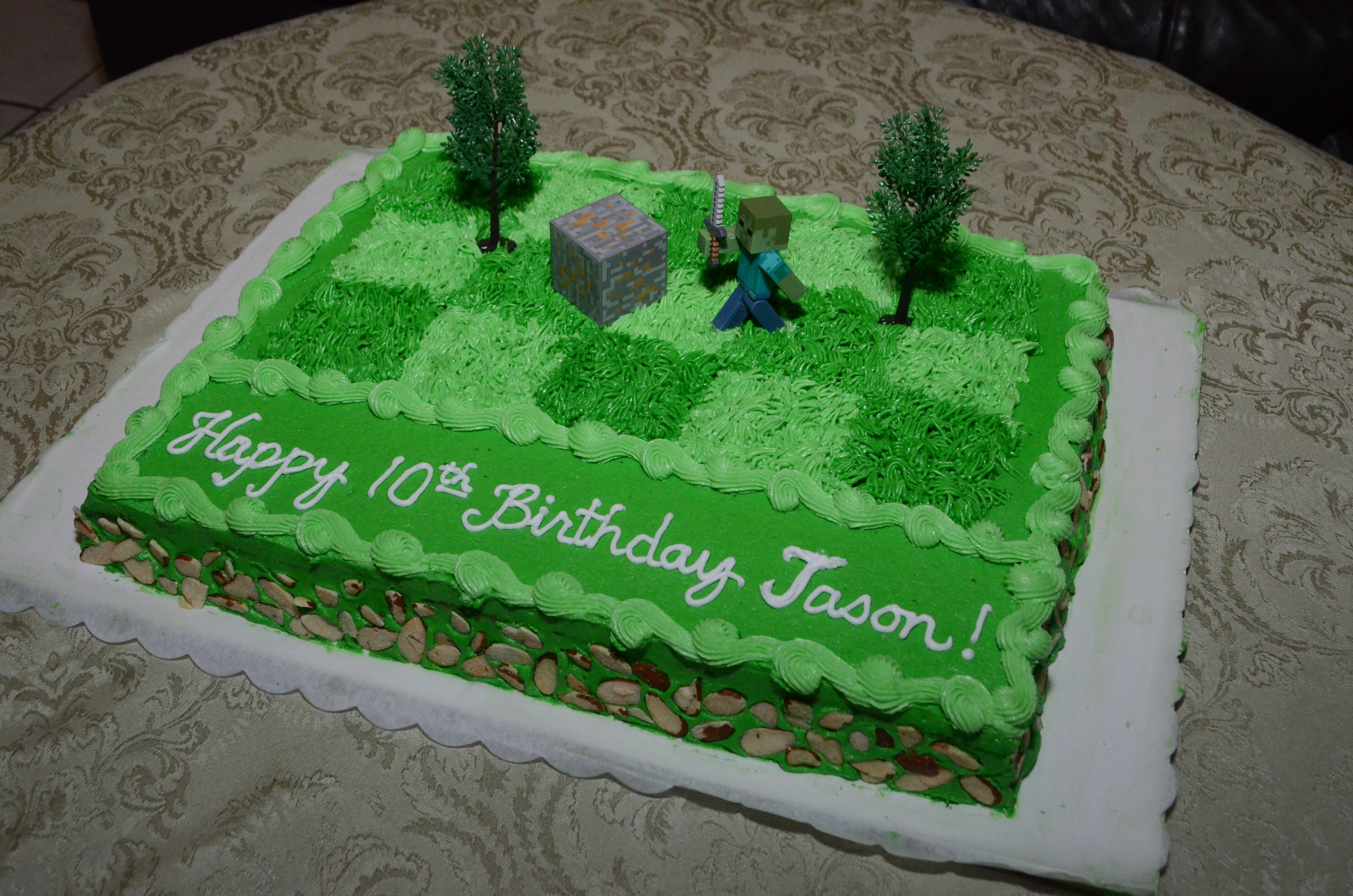Minecraft Zombie Birthday Cake For Jason CakeCentralcom