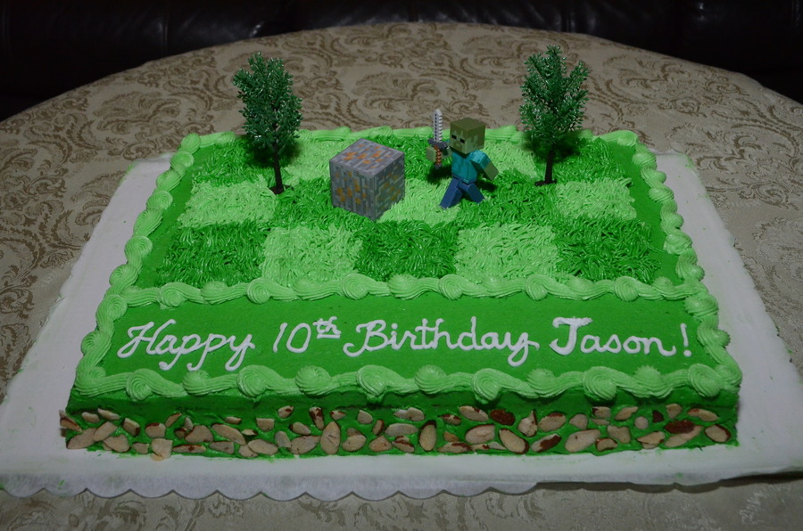 Minecraft Zombie Birthday Cake For Jason Cakecentral Com