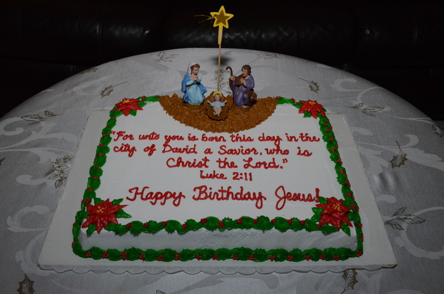 Nativity Scene Happy Birthday Jesus Cake 2013