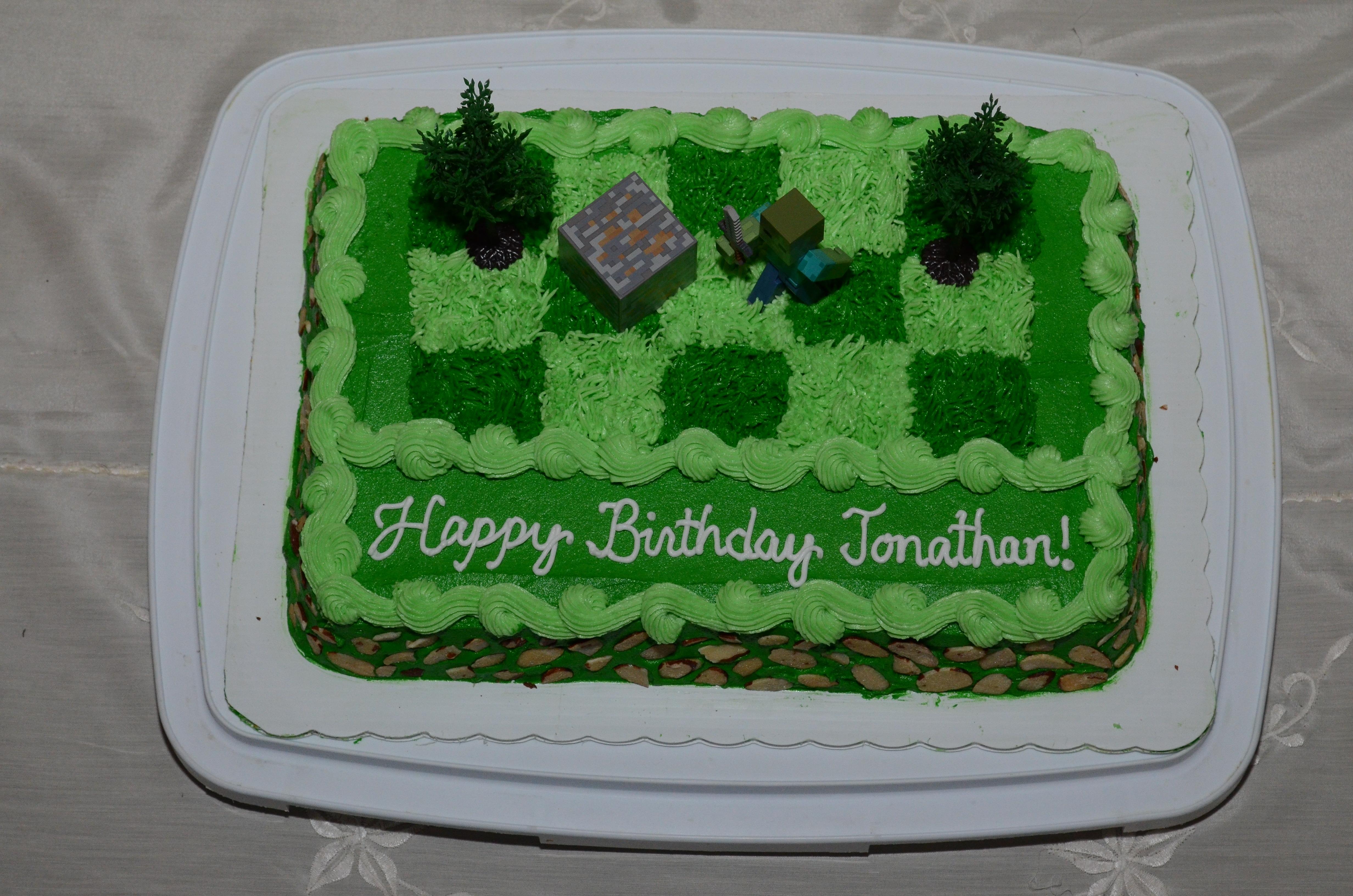Minecraft Zombie Birthday Cake For Jonathan CakeCentralcom