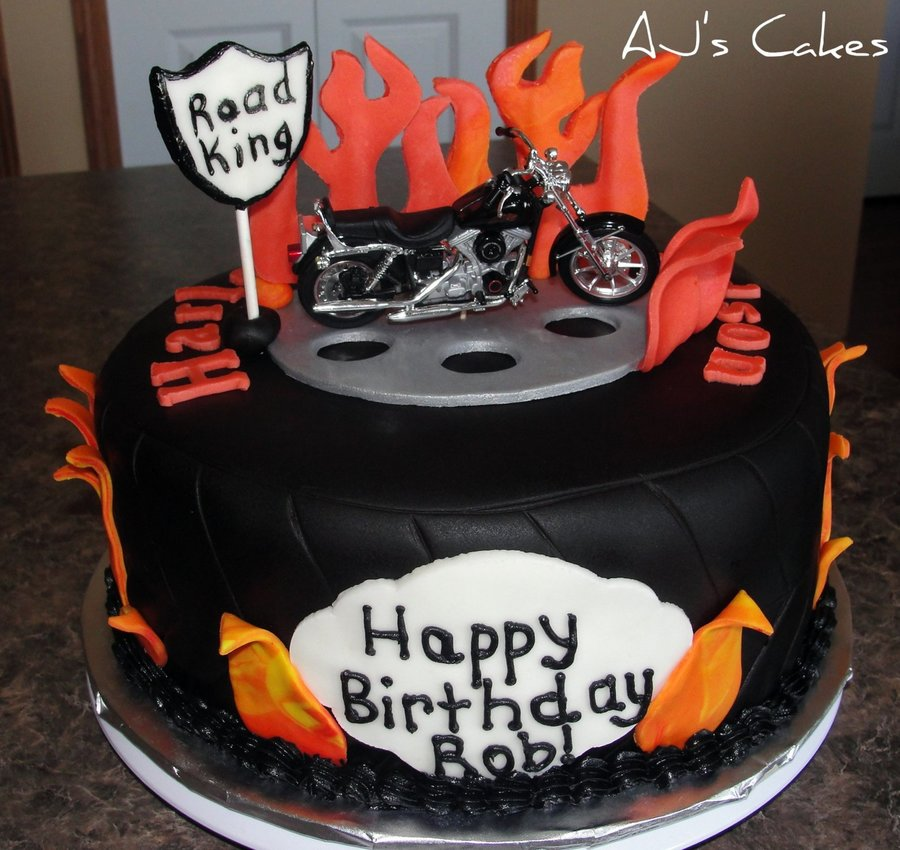 Tire And Flames Motorcycle Cake CakeCentralcom