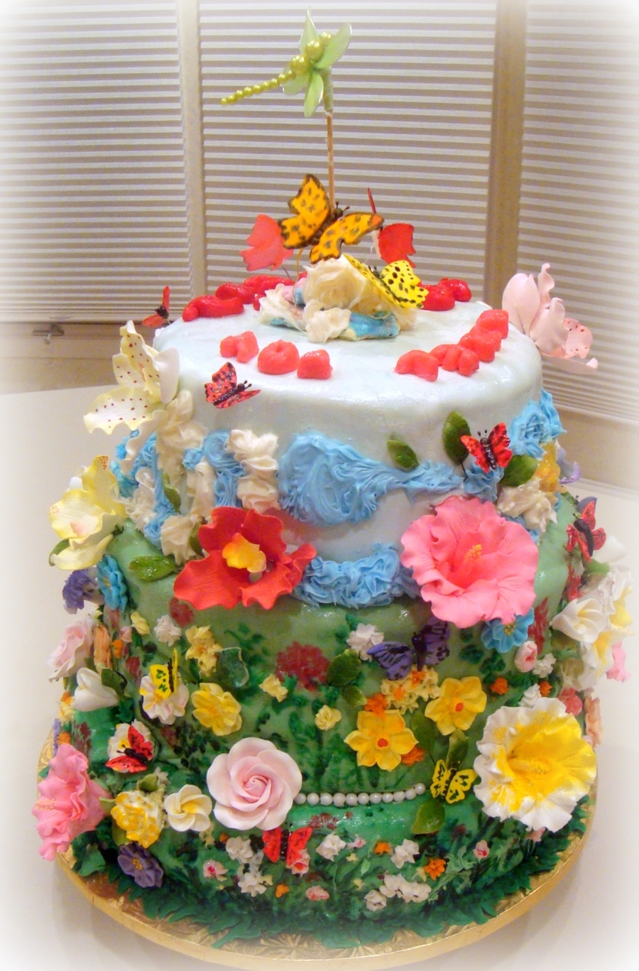 Bat Mitzvah Cake Meadow And Sky With Flowers And