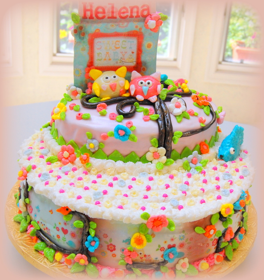 Happi Tree Themed Cake For Baby Shower Baby Girl Helena