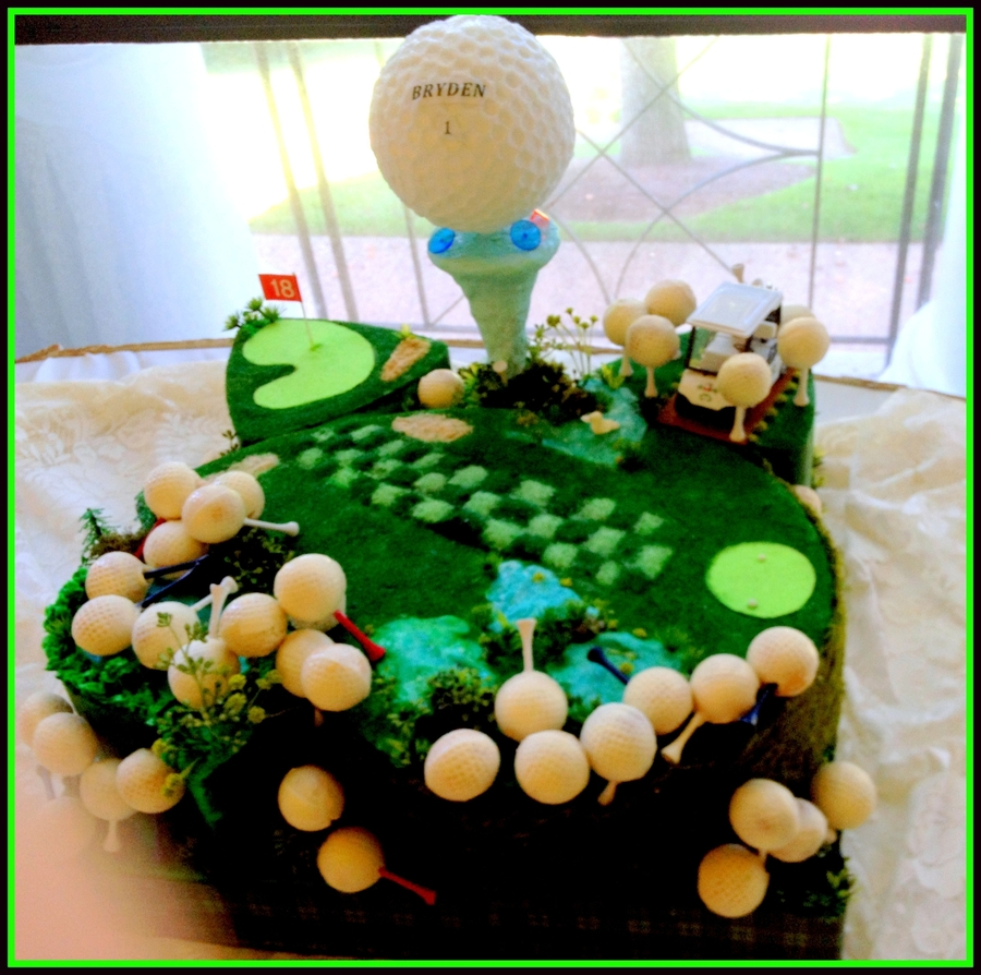 Groom's Cake With Golf Ball Cake Pops on Cake Central
