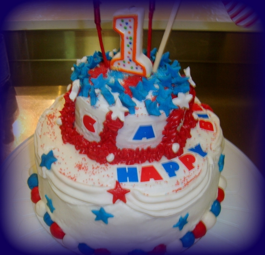1St Birthday Independence Day Cake on Cake Central