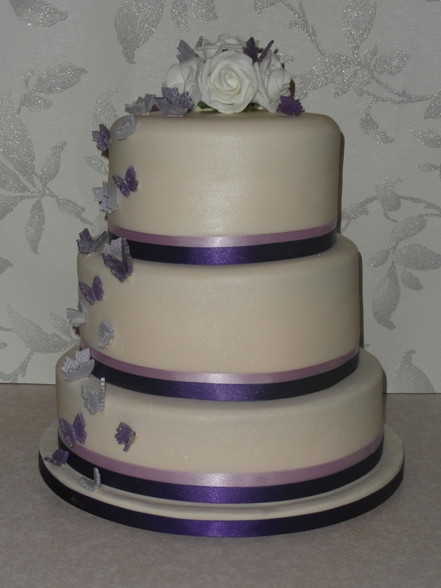Cascading Butterfly Wedding Cake on Cake Central