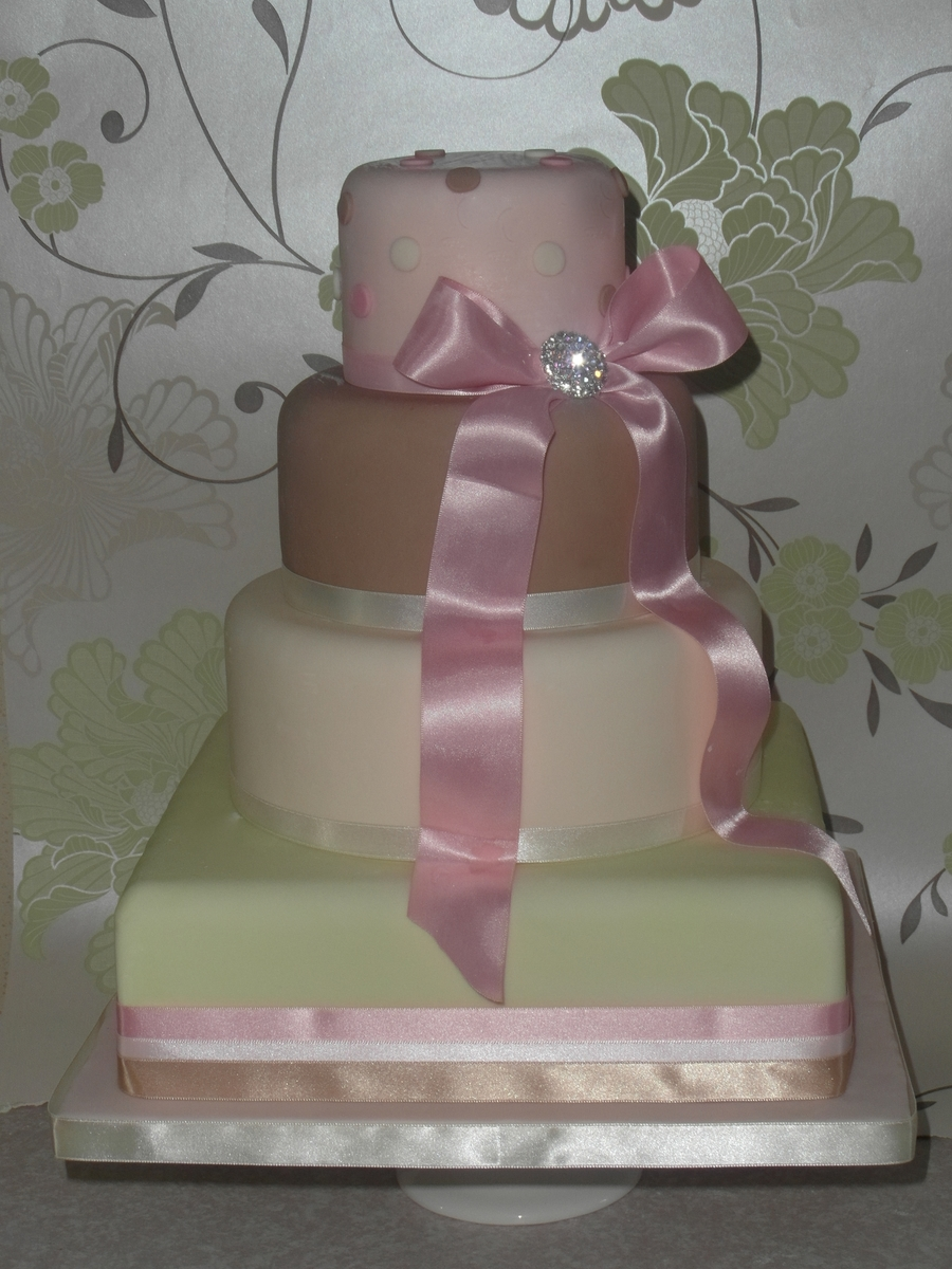 Pastel Colour Wedding Cake on Cake Central