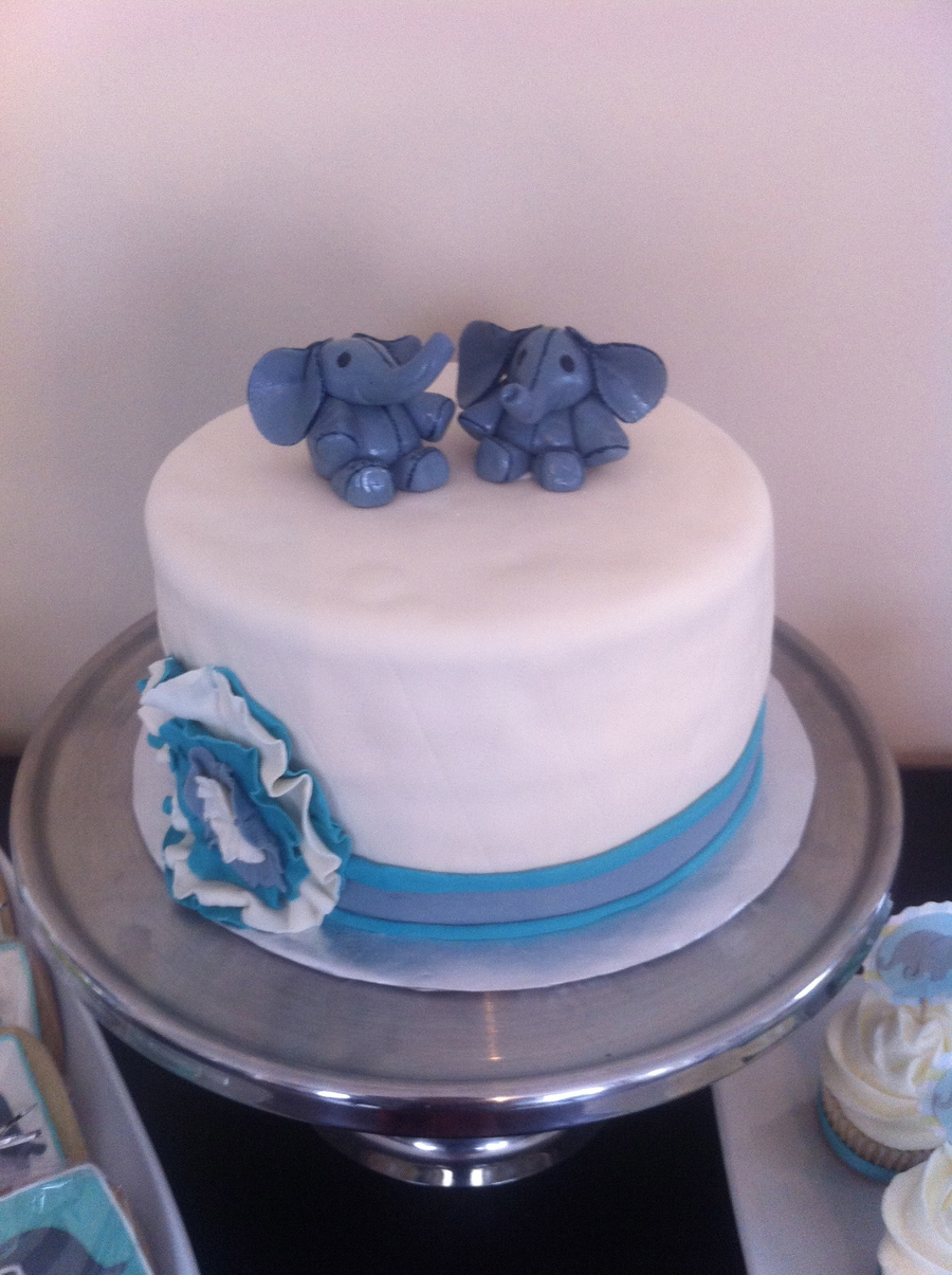 Twin Baby Elephant Boy Baby Shower Cake Cakecentral Com