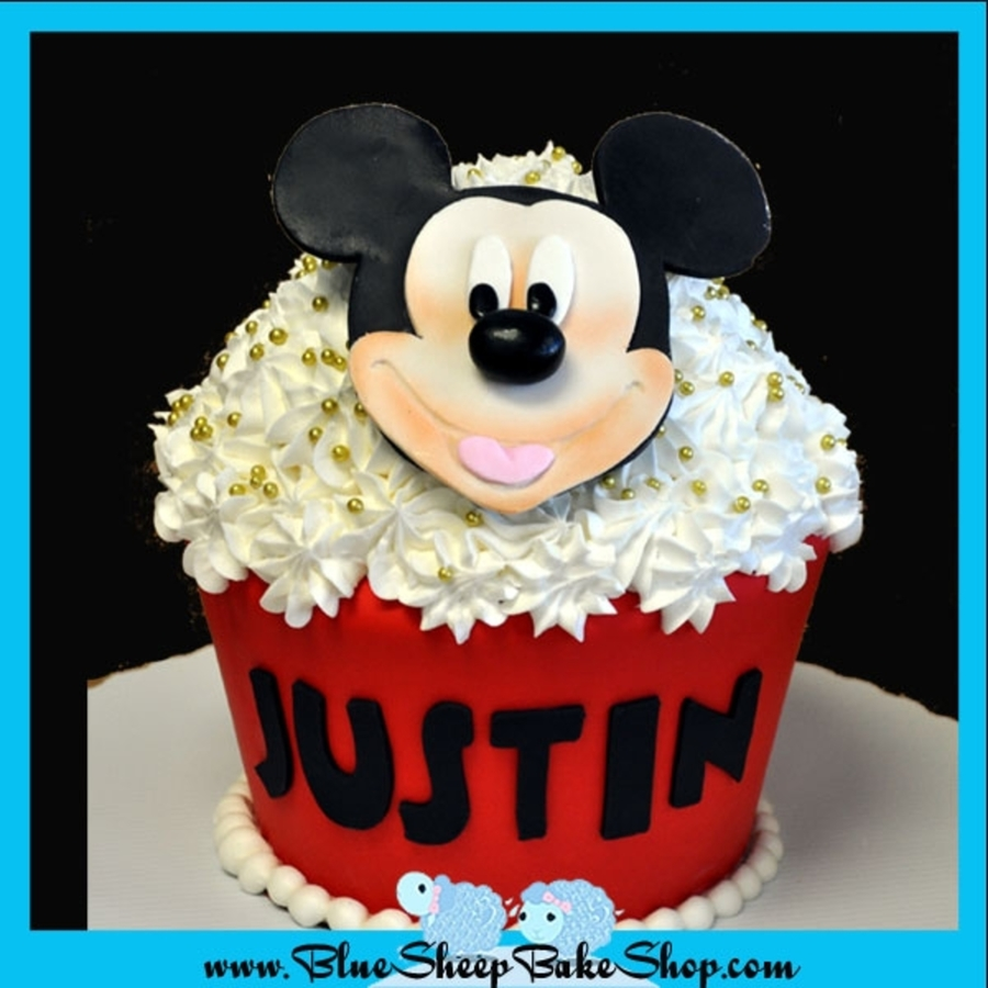 Mickey Mouse Giant Cupcake Cake  on Cake Central