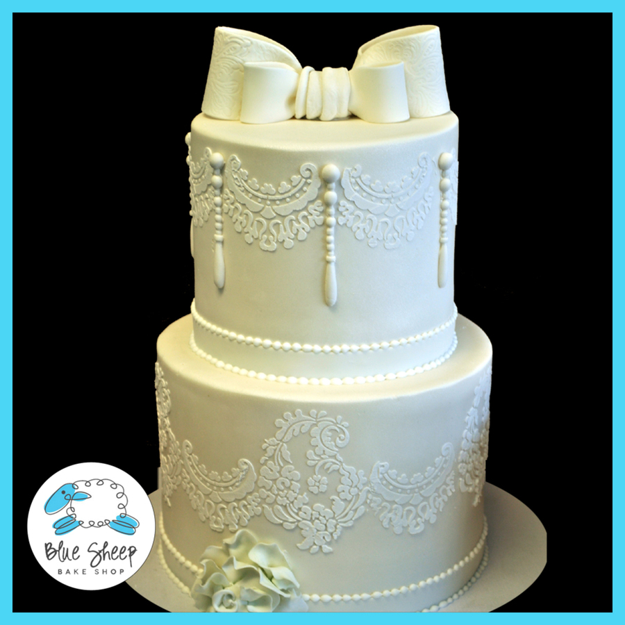 Wedding Cake White And Blue Pearls