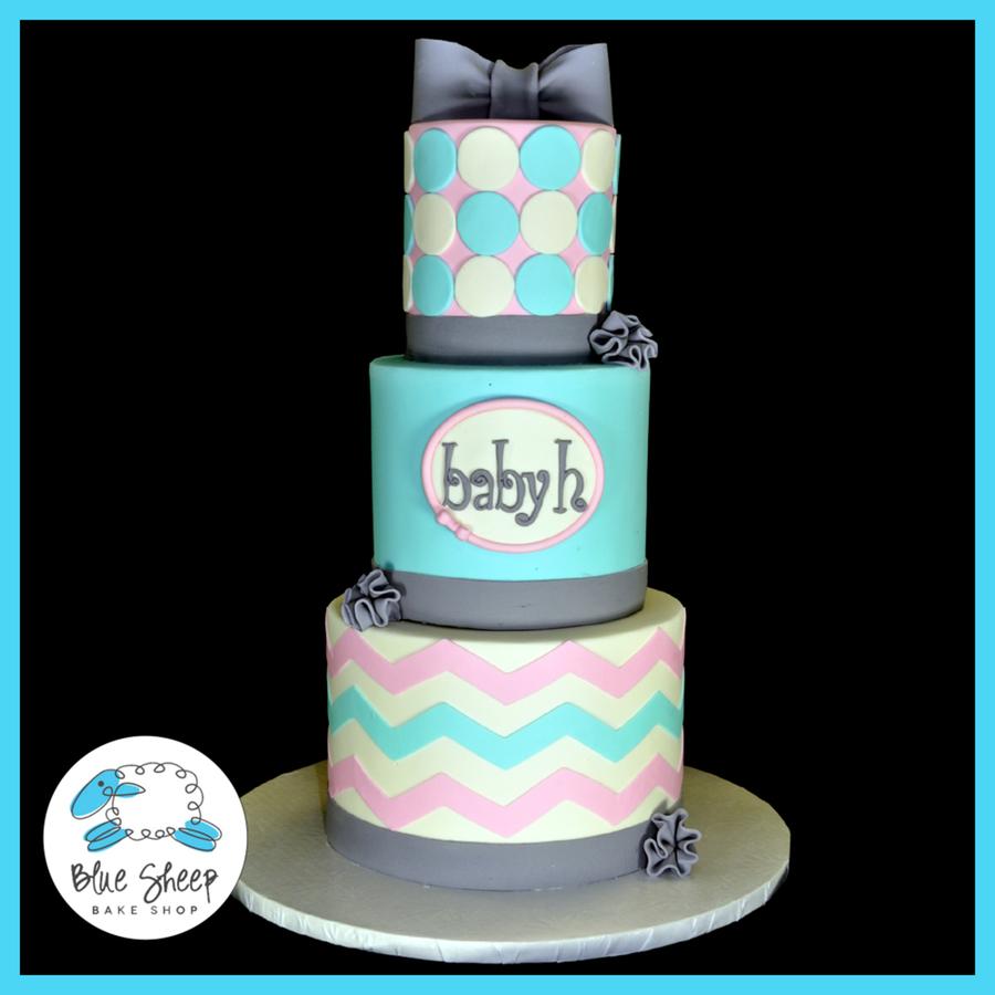 Teal Grey Baby Shiwer Cake