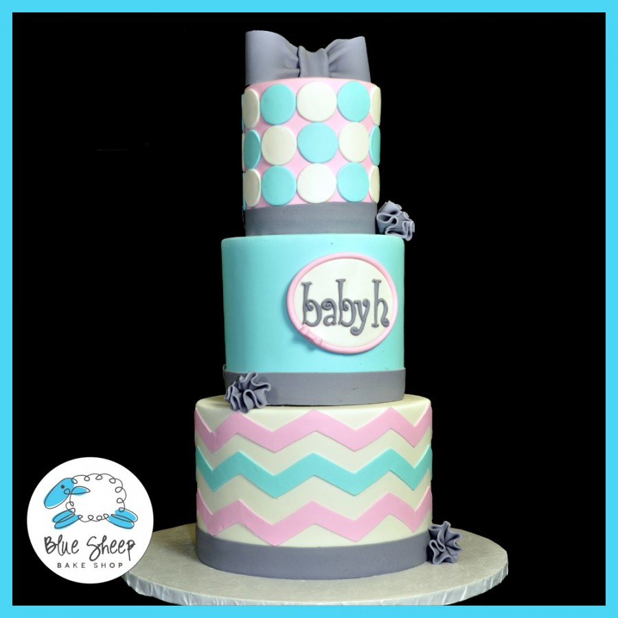 Pink And Blue Chevron Baby Shower Cake Cakecentral Com