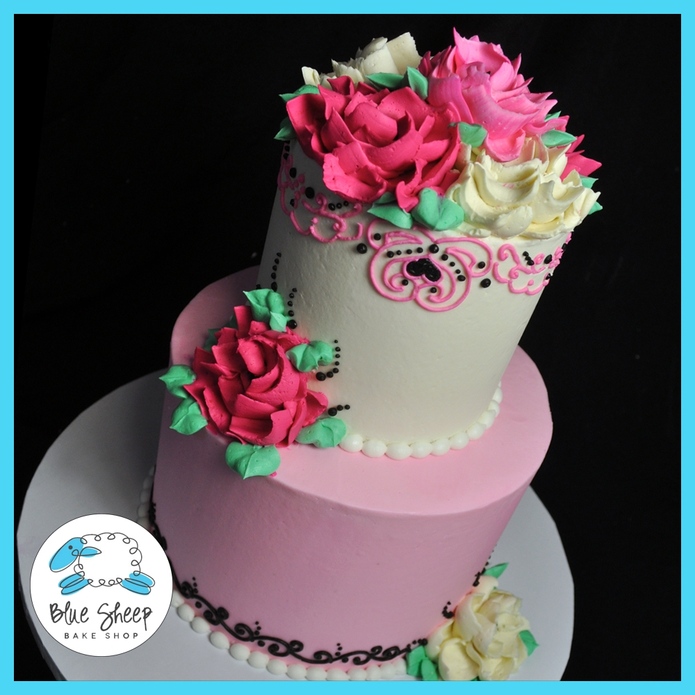 Chrysanthemum buttercream cake cakecentral buttercream birthday cake inspired by the awesome white flower cake shop in oh dhlflorist Image collections