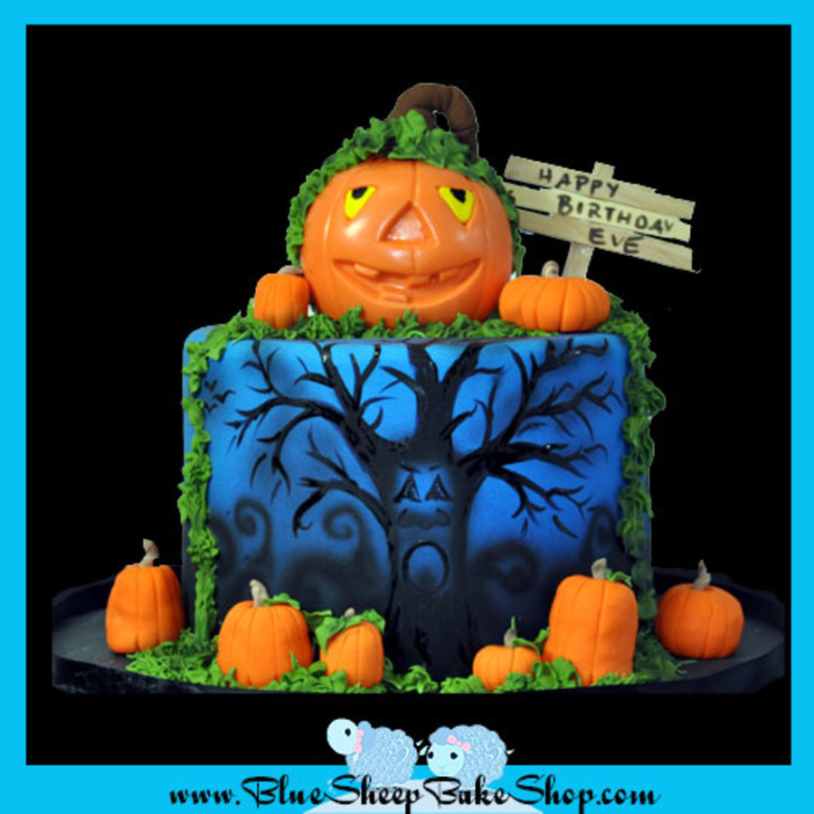 Pumpkin Topped Halloween Cake  on Cake Central