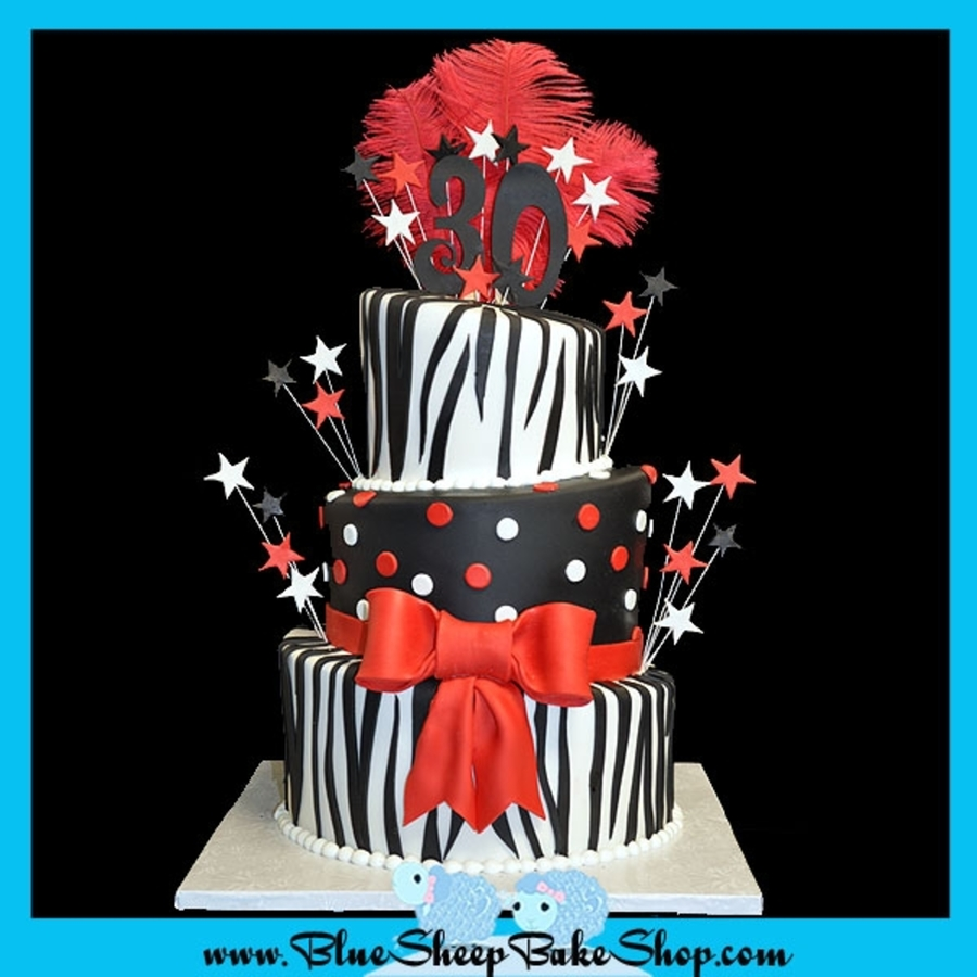 Zebra Black White And Red 30 Th Birthday Cake