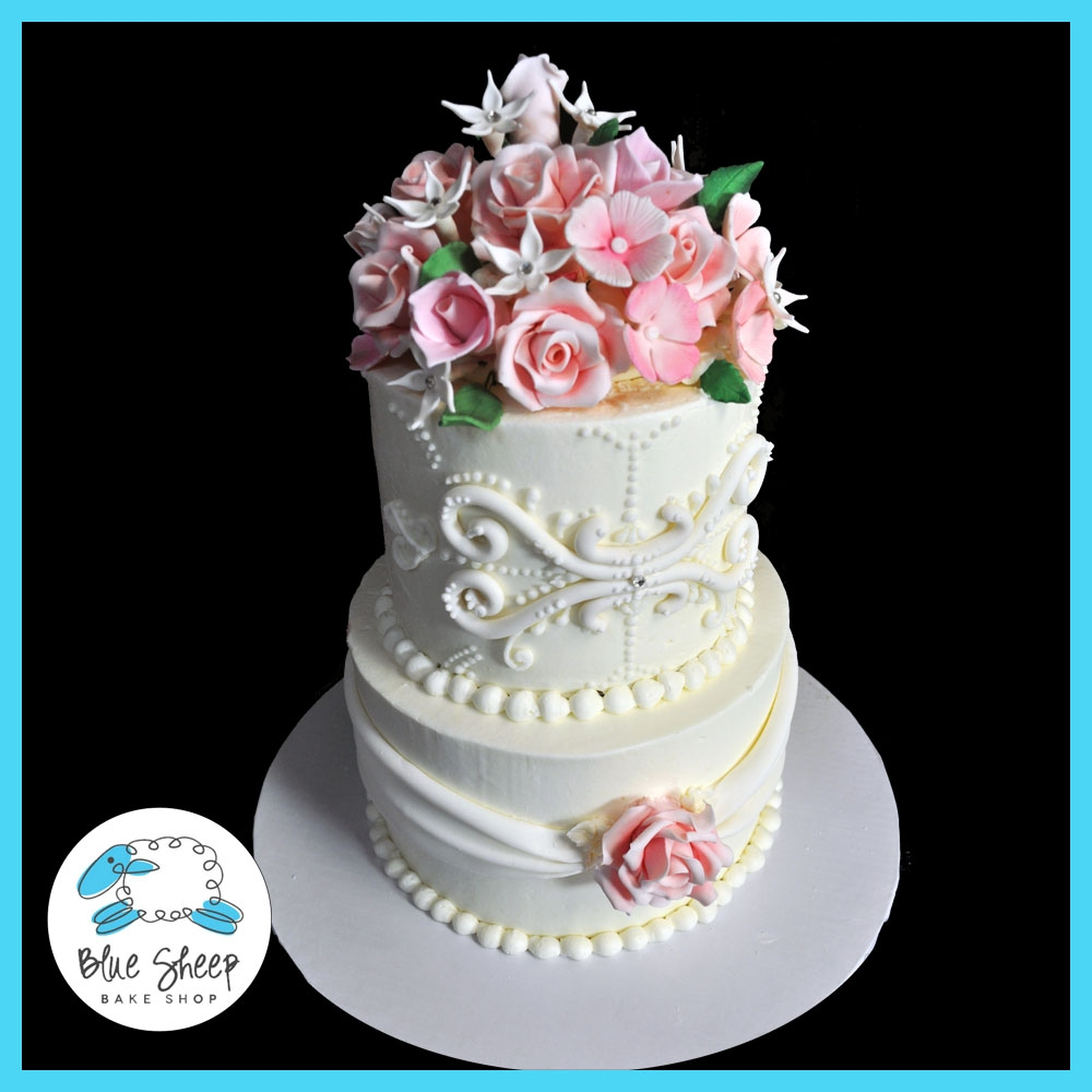 Buttercream Wedding Cake: Pink Floral Buttercream Wedding Cake