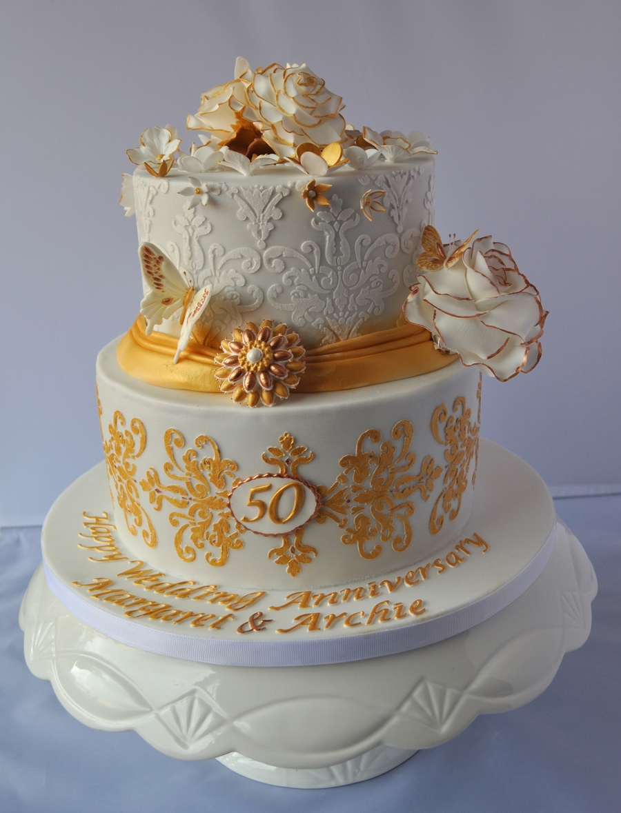 50th wedding cakes ideas golden wedding anniversary cake cakecentral 10442