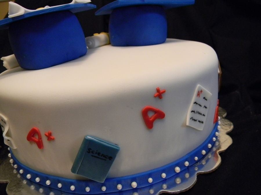 A Cake For Two Awesome 8th Grade Graduates The Is Classic White With Chocolate Buttercream Icing Covered In Fondant Book Made From