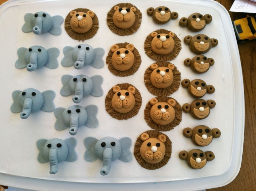 these were for an animal themed baby shower decorations are fondant