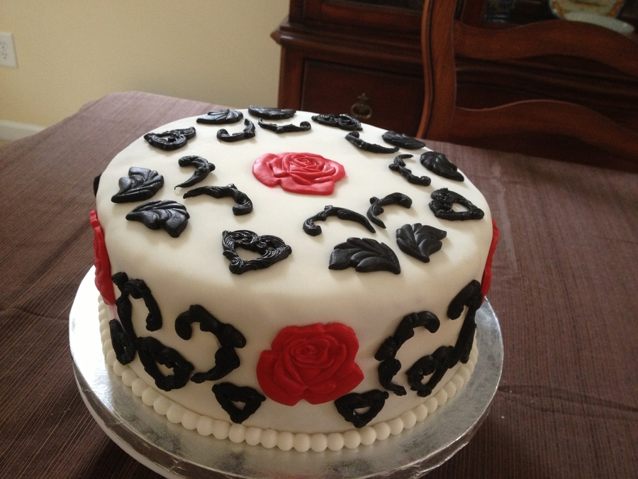 Black White And Red Small Wedding Cake. on Cake Central