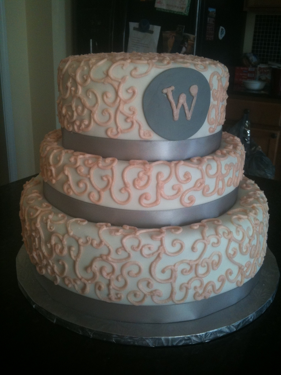 Pink And Silver Wedding Cake