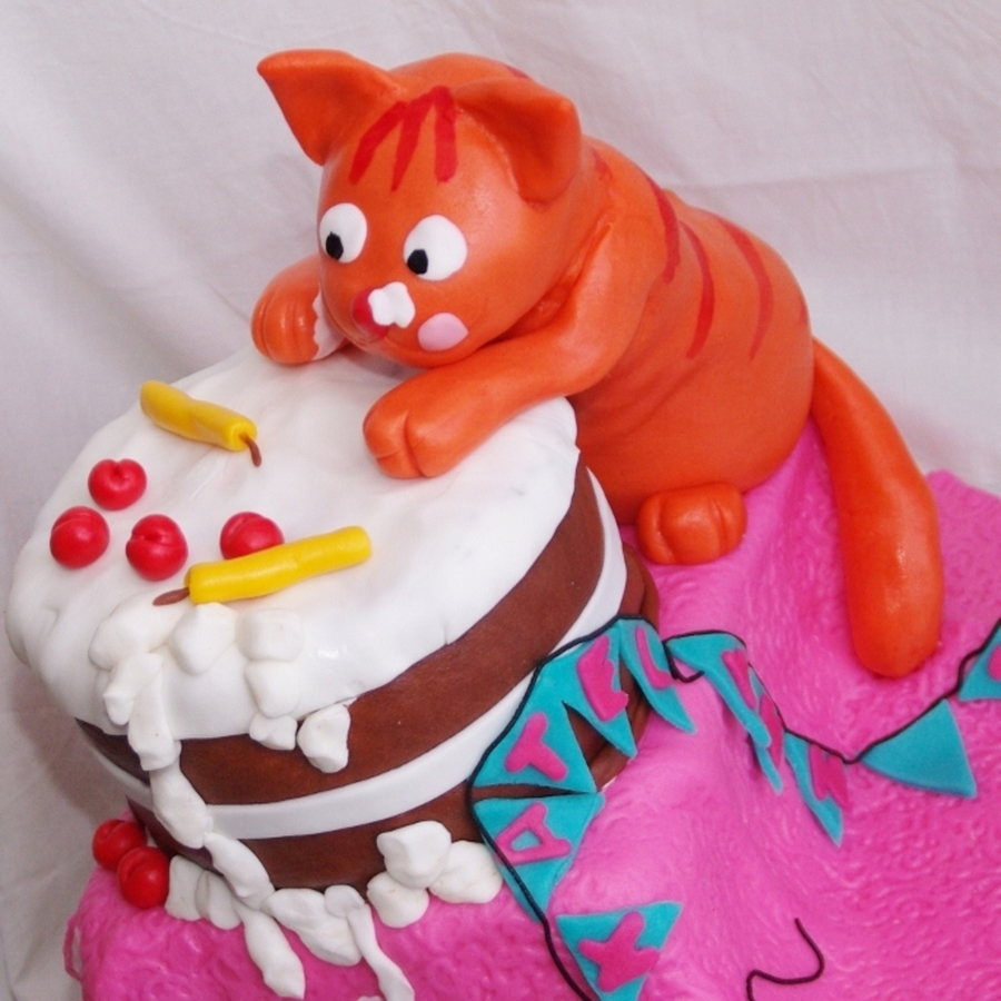 Naughty Cat With Birthday Cake on Cake Central