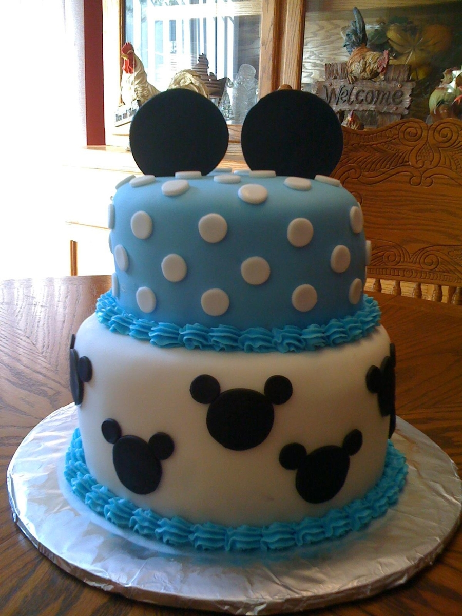 Baby Mickey Mouse Edible Cake Decorations Mickey Mouse Baby Shower Cake Cakecentralcom